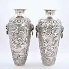Pair 19C Chinese Silver Vase Immortal Ladies Figure
