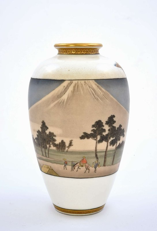 Meiji Japanese Kinkozan Sozan Satsuma Vase Butterfly