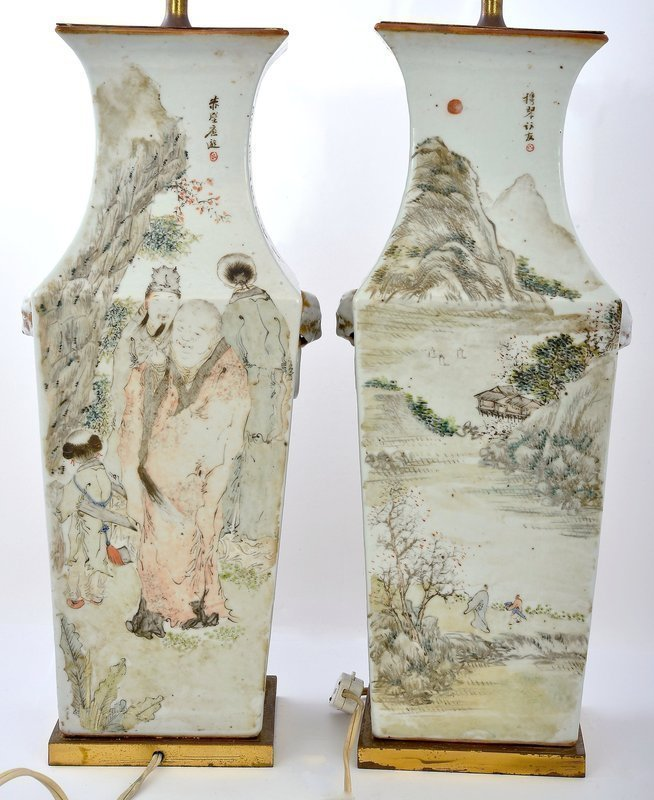 Pair 19C Chinese Famille Rose Lamp Vase Scholar