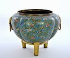Early 19C Chinese Gilt Cloisonné Tripod Censer