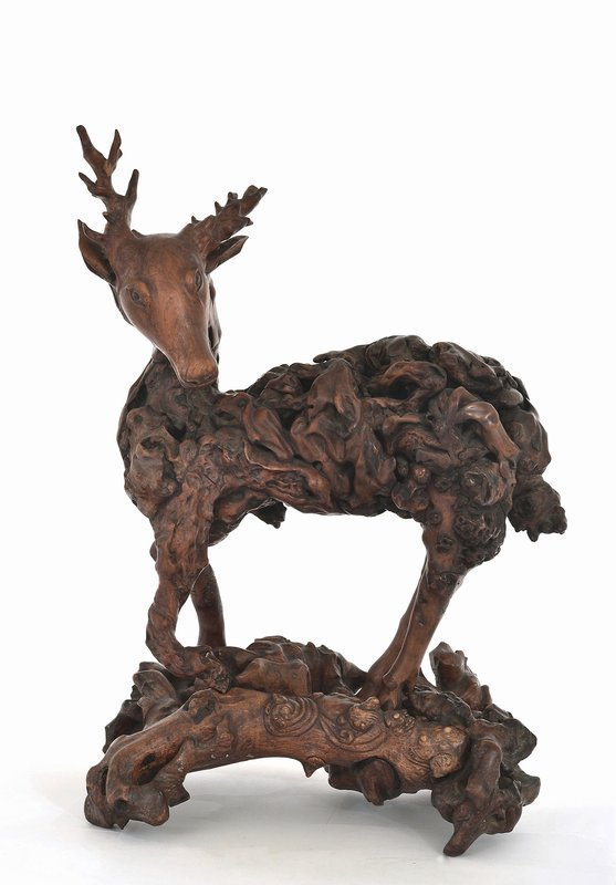 19C Chinese Hardwood Root Carved Stag Deer Stand