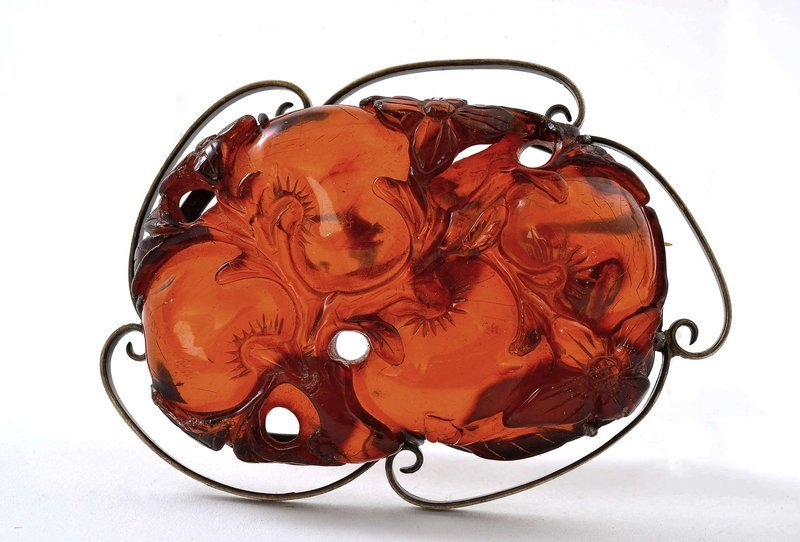 18C/19C Chinese Amber Carving Flower Peach Silver Pin Marked