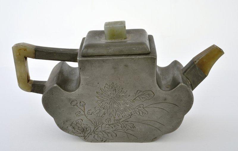 19C Chinese Jade Yixing Pewter Teapot 石楳 Sg