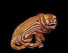 Old Japanese Banko Ware Marble Pattern Tiger