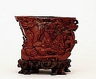 Lg 19C Chinese Red Stone Carved Brush Holder