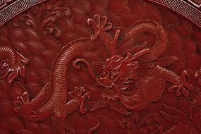 Old Chinese Two Tone Red & Black Cinnabar Lacquer Dragon Box