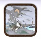 Japanese Wireless Cloisonne Quail Plate Signed Teizan Sealed Kinzan