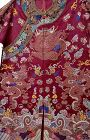 19C Chinese Silk Embroidery Purple Dragon Robe Brocade