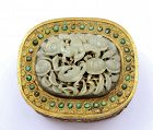17C Chinese Jade Carved Plaque Bird Turquoise Bead Gilt Bronze Box