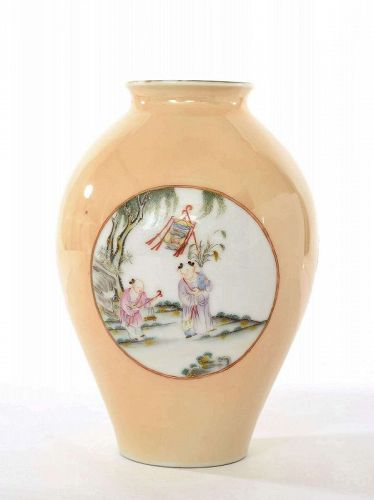 Early 19C Chinese Famille Rose Kids Goat Figurine Vase Marked