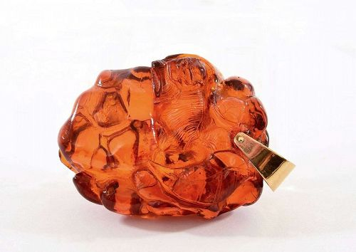 Old Chinese Amber Carved Carving Pendant Fu Foo Dog Lion