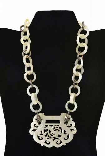19C Chinese White Jade Carved Carving Pendant Ring Silver Necklace
