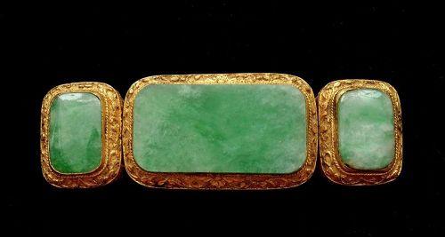 Old Chinese Gilt Bronze Jade Jadeite Carved Carving Belt Buckle