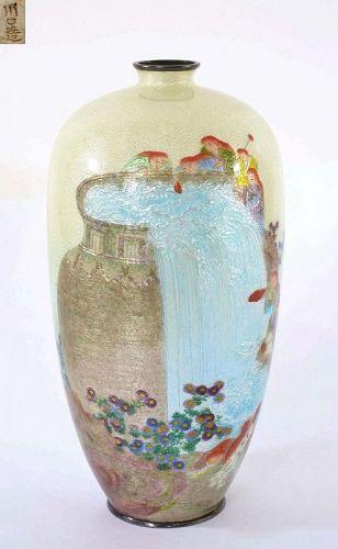 1900's Japanese Kawaguchi Bunzaemon Cloisonne Silver Vase Mk