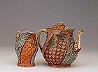 19C Japanese Fukagawa Teapot & Creamer Dragon
