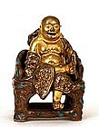 Old Chinese Gilt Famille Porcelain Buddha Chair