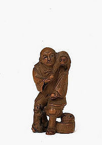 Old Japanese Boxwood Netsuke Monkey & Trainer