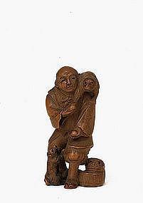 Old Japanese Boxwood Netsuke Monkey & Trainer