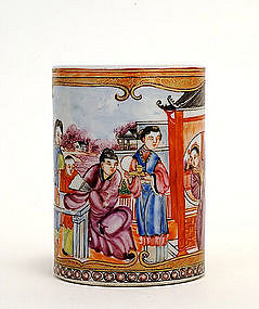 Old Chinese Export Famille Rose Brush Holder