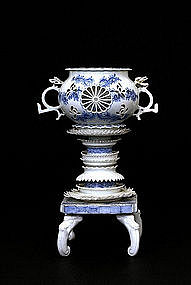 19C Japanese Blue & White Hirado Pierce Censer