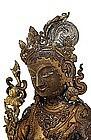 19C Chinese Tibetan Gilt Bronze Buddha Quan Yin