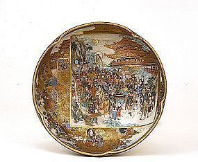 Meiji Japanese Satsuma Bowl Meeting of the Gods Sg