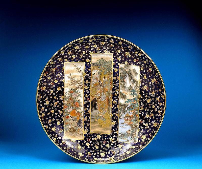 Meiji Japanese Cobalt Blue Sozan Kinkozan Satsuma Plate