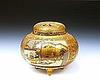Meiji Japanese Satsuma Censer Geisha & Screen Sg