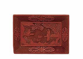 19C Chinese Red Cinnabar Lacquer Carved Tray Plate