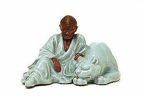 Meiji Japanese Tozan Studio Celadon Monk w Tiger