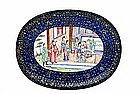 Old Chinese Export Enamel Cloisonne Platter w Figurine