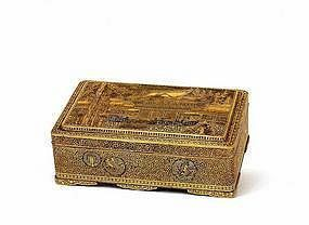 Lg Meiji Japanese Komai Mixed Metal Box Temple Phoenix