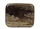 Meiji Japanese Makie Lacquer Box Farm Scene