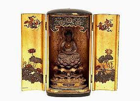 19C Edo Japanese Lacquer Travel Shrine Buddha Zushi