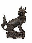 Lg 17C Chinese Bronze Dragon Head Qilin Fu Lion Censer