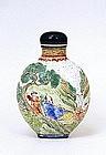 19C Chinese Enamel Snuff Bottle w Sage Figurine Mk