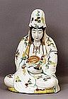 Lg 19C Japanese Satsuma Style Kutani Quan Yin Buddha