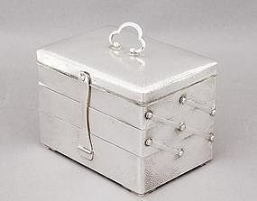Meiji Japanese Silver 3 Tiers Jewelry Box
