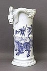 19C Japanese Blue & White Hirado Dragon Tiger Vase