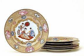 Qianlong Chinese Rockefeller Famille Rose Plate Set