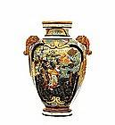 Meiji Japanese Ryokuzan Satsuma Relief Vase 8 Immortal