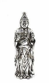 19C Japanese Gilt Silver Kannon Okimono Buddha Quan Yin