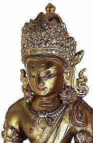 18C Chinese Tibetan Gilt Bronze Seated Buddha