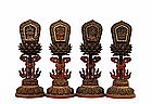 4 19C Chinese Tibetan Lacquer Wood Buddha Altar Piece
