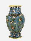 19C Chinese Gilded Cloisonne Enamel Lobe Vase