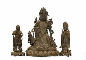 16C Chinese Bronze Quan Yin Buddha & Attendant Trio