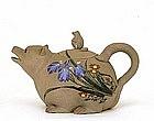 Old Japanese Banko Ware 2 Tanuki Badger Teapot w Iris