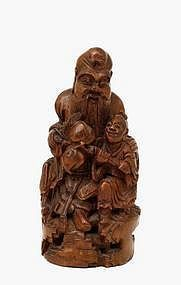 19C Chinese Bamboo Carved Sage & Boy Figurine