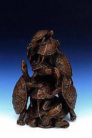 Meiji Japanese Wood Okimono 8 Turtle Tortoise Sg