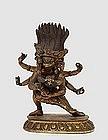 18C Chinese Tibetan Gilt Bronze Yamantaka Buddha
